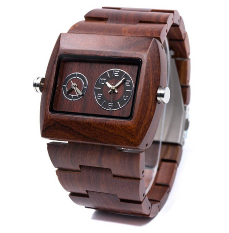 100% HANDMADE Dual Time Natural Wood Watch | 5702529