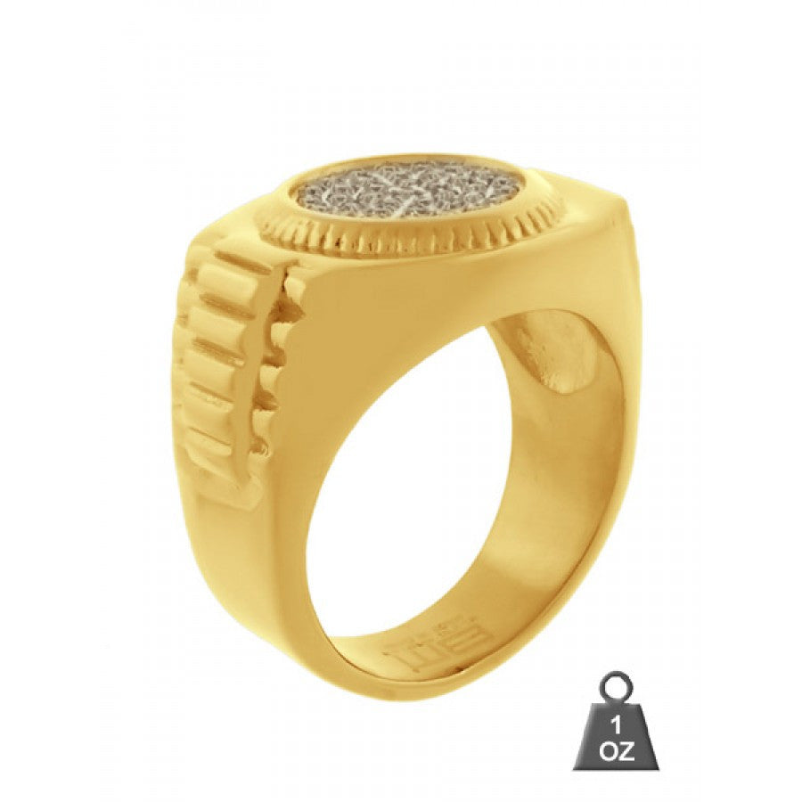 Steel CZ Ring Round Gold 06296