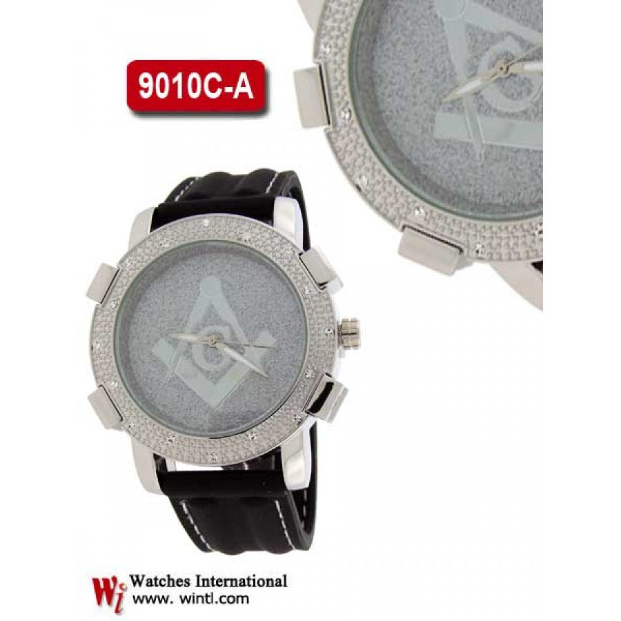 iced out hip hop leather mens fashion watch