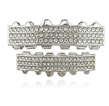 Hip Hop 3-line Silver Iced Out Grillz