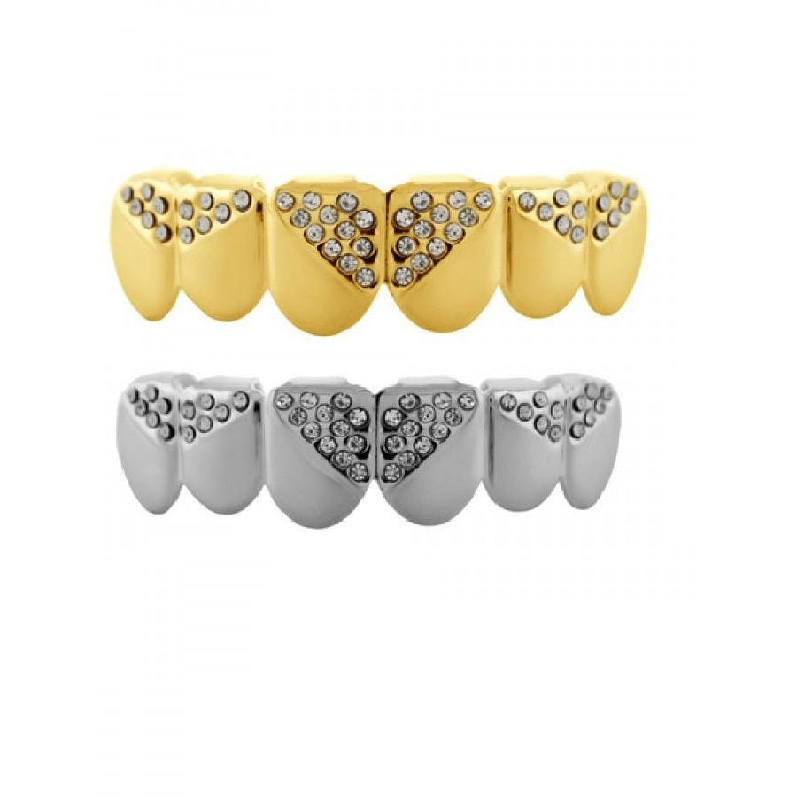 Hip Hop 14K Yellow Gold Triangle Pattern CZ Grillz