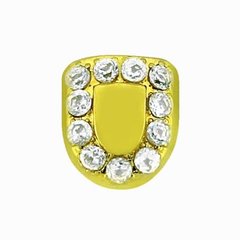 Wholesale Hip Hop Diamond Cut 14K Yellow Gold with White Gold Grillz