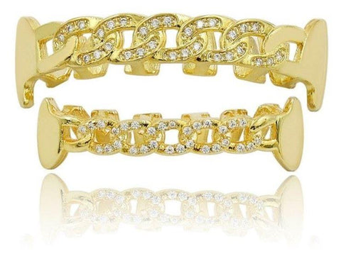 Hip Hop 14K Yellow Gold Diamond Cut Grillz
