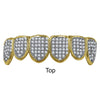 925 Sterling Silver Top and Bottom CZ  Grillz in Gold Color- 9298642