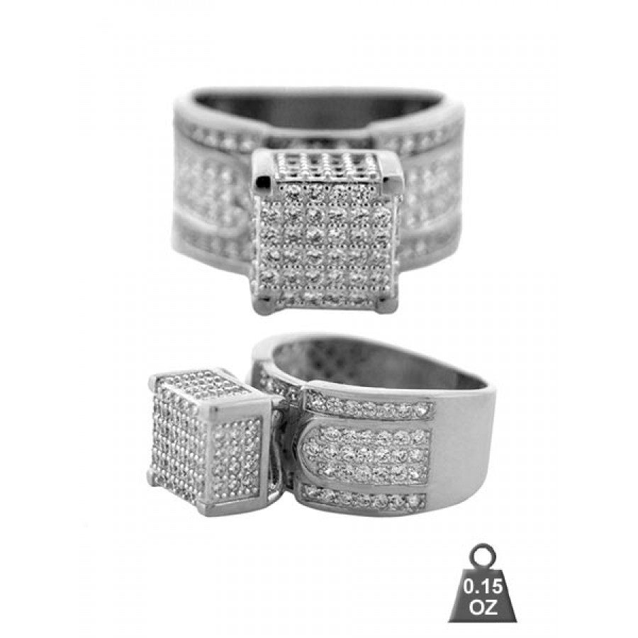 920761 Rhodium Plated Women Micro pave ring
