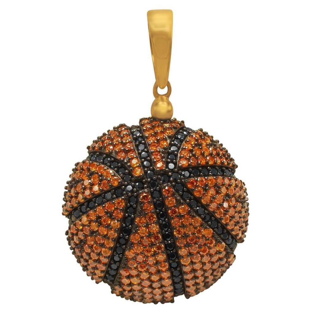 Orange and Black CZ Basketball in 925 Silver