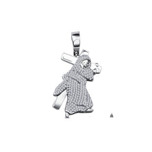 Silver-Jesus with Cross-Pendant-CZ-928681