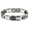 Steel & Black Greek Key with White CZ Accent Bracelet 931807