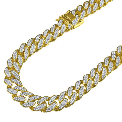 Tri Color 12mm Miami Cuban Fully Iced Out Chain
