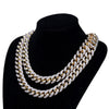 12mm Two Tone Solid Miami Cuban Iced out Chain by Bling Master