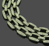 14 MM CURB LINK Silver Color Solid Crystal Chain | 970841