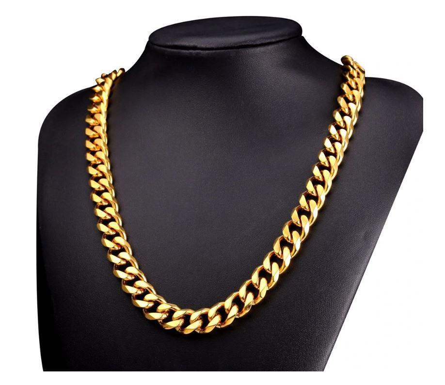 14K Yellow Gold Solid Brass Cuban Classic Chain