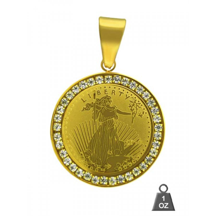 Liberty Coin Pendant with CZ Border