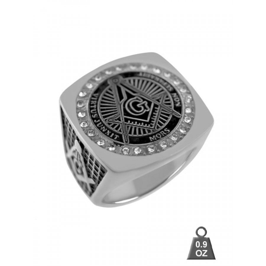 High Quality Steel Masonic Ring with CZ