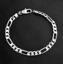 Silver Plated Solid Brass Classic Korean Figaro Bracelet