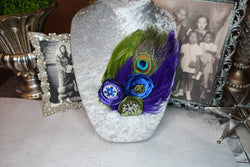 Double Feather Brooch - Royal Blue, Green, & Peacock