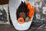 Double Feather Brooch - Orange & Brown