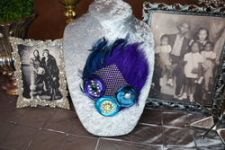 Double Feather Brooch - Midnight Blue, Purple, & Turquoise