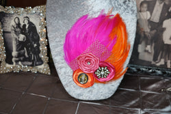 Double Feather Brooch - Hot Pink & Orange