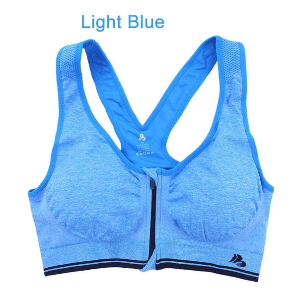 B.BANG Yoga Tops Padded Shirt Bra for Fitness Running Gym Workout Sports with Zipper Front Bras soutien gorge