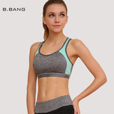 B.BANG Yoga Bra Tops for Gym Fitness Workout Training Crop Tops Yoga Shirts for Push Up Padded Bra M/L