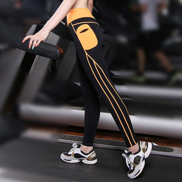 Push Up Spandex Yoga Pants With Side Pocket Patchwork High Waist Elastic Leggings Gym Workout Clothes Running Pants