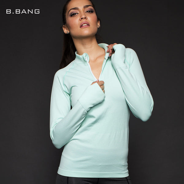 B.BANG Long Sleeves Shirts Tops Zipper T-shirt Breathable Sportwear Gym Yoga Running Tee Sport Tight Clothes