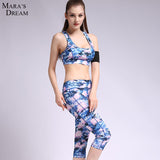 Sport Yoga Bra & Pants suits printed suit sports fitness bra Printing yoga 7 minutes of pants