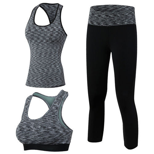 3 Pieces Fitness Quick Dry Workout Sport Suit Tights Run Gym Shorts Sport Bra Tracksuit Yoga Set 500150085080