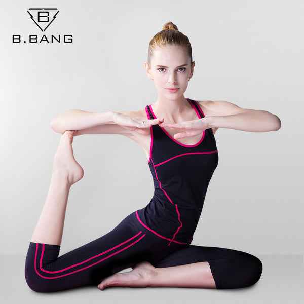 B.BANG Sport Yoga Sets Vest Pants Suits for Workout Running Fitness Training Sports Shirts Sportswear