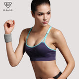 B.BANG Push Up Bra Running Sports Shirts for Yoga Gym Fitness Patchwork Tops For & Adjustable Strap Bra