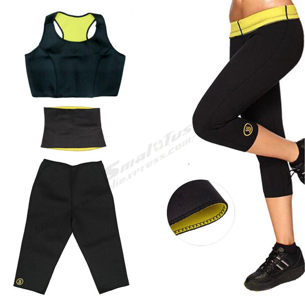 ( Pants+Vest+Waistband)Super Stretch Neoprene Shapers Yoga Sports Set Fitness Slimming Sets
