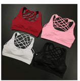 Yoga sport bra with pad vest sleeveles shirt back cross tank top crop tops dry quick fitness running