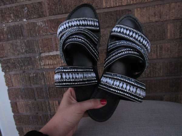 Band Of Gypsies Beaded Sandals - 6