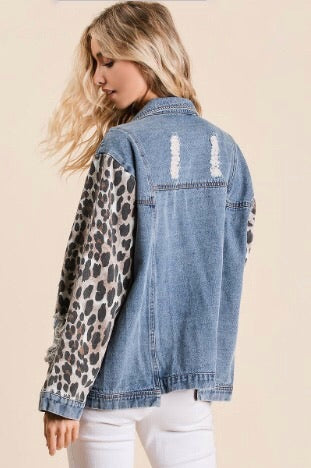 Jada Denim Leopard Jacket