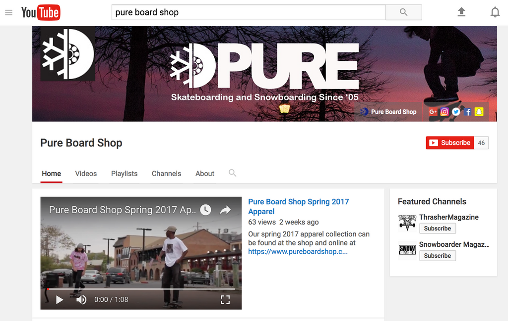 Pure Board Shop on YouTube