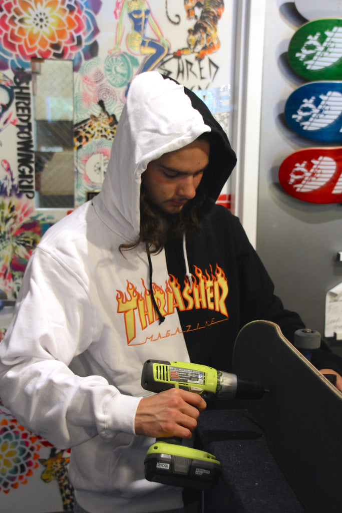 Thrasher Flame Logo Split Hoodie Now Available – Pure Board Shop 1156245e3b