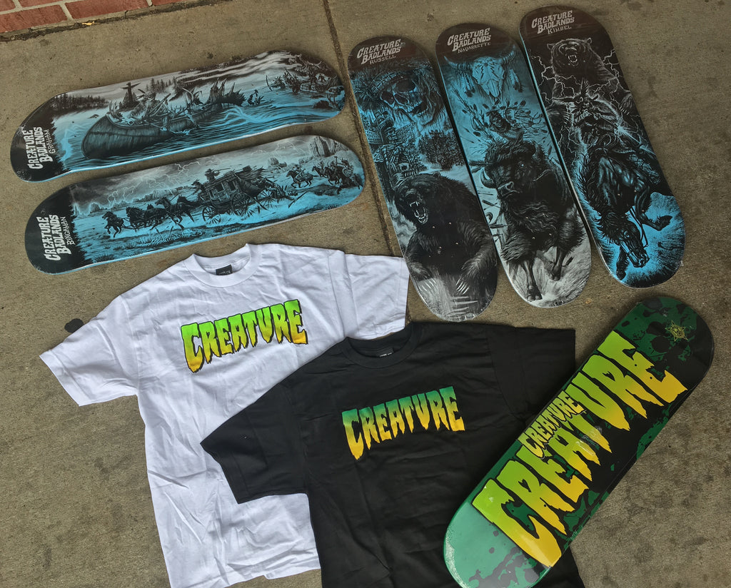 New Creature Skateboards and T-Shirts