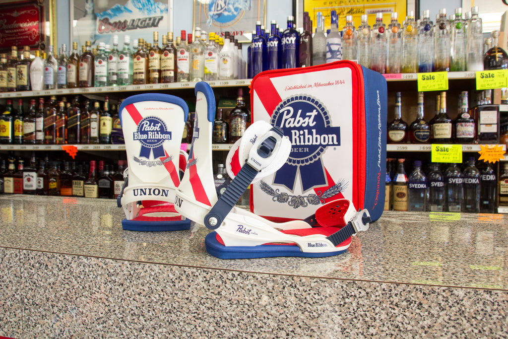 Union X Pabst Blue Ribbon Snowboard Bindings 2018 Now Available