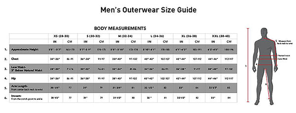 686 mens snow outerwear size chart pure board shop