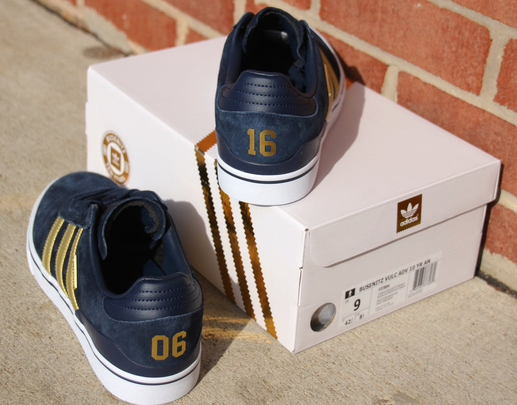 Adidas Busenitz Vulc ADV 10 Year Anniversey Skate Shoes Collegiate Navy Gold Metallic White F37894