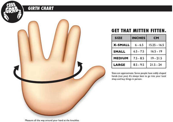Crab Grab Glove Size Chart pure board shop