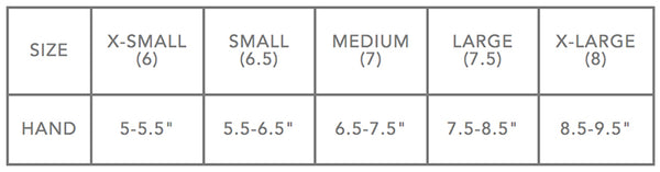 dakine womens snow glove and mitten size chart