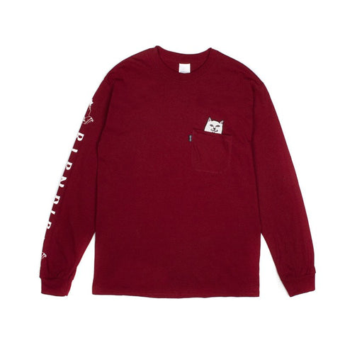 RIPNDIP Lord Nermal Pocket Long Sleeve T-Shirt Maroon Pure Boardshop