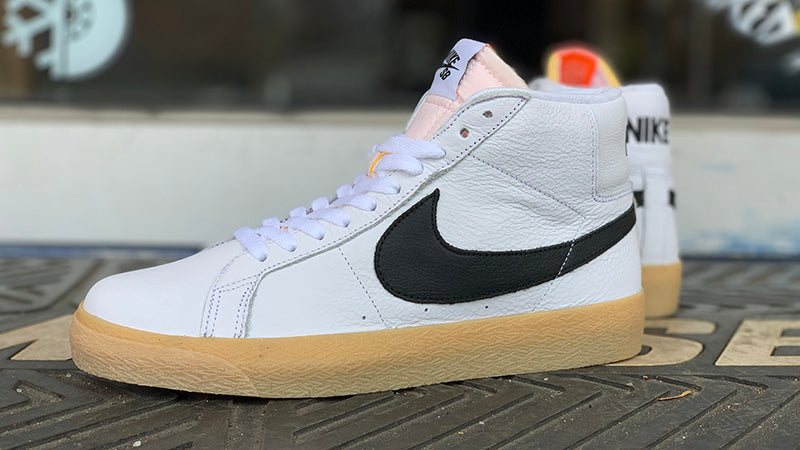 Nike SB Zoom Blazer Mid ISO White Black Safety Orange CD2569 100 Nike Sb Orange Label In Store Only pure board shop