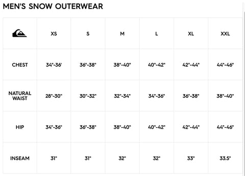 Quiksilver Snow Outerwear Size Chart Pure Board Shop