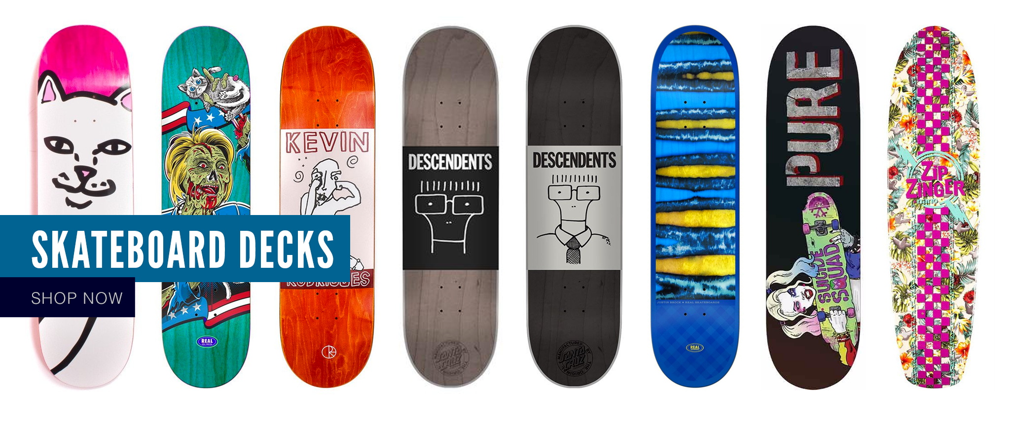 Skateboard decks from Real, Polar, Convoy, Santa Cruz, Element, RIPNDIP and more
