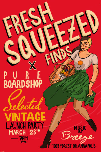 pure board shop x fresh squeezed finds pop up shop launch party annapolis