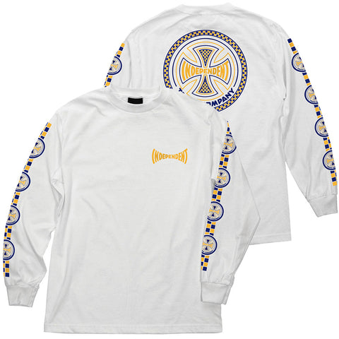 Independent Tiled Long Sleeve T-Shirt White Pure Board Shop