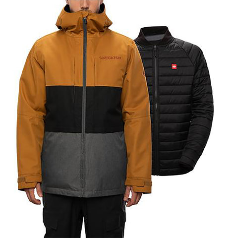 686 Smarty 3 in 1 Form Mens Snowboard Jacket 2021 Golden Brown Colorblock pure board shop